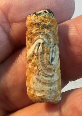 #38 Ancient CANAANITE Faience CYLINDER SEAL = Worn - Spiral  1700-1500BC 2