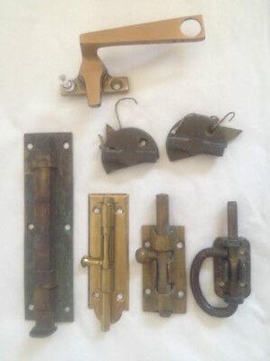 7 Antique Brass  Furniture Drawer Or Door-Closet Locks  Assortment 2