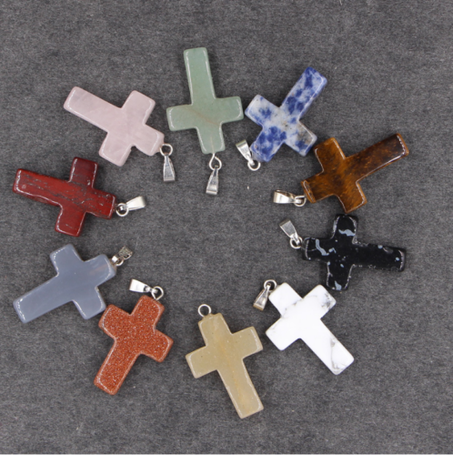 Cross Natural Stone Quartz Charms Pendant Necklace Women/Men Jewelry Choker Gift 3