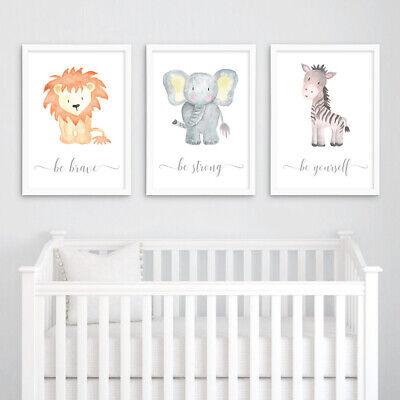Safari Animal Baby Nursery Prints Set Childrens Bedroom Wall Art Pictures Decor 2