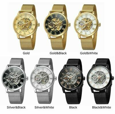 Men Skeleton Mechanical Wrist Watch Stainless Steel Luxury Steampunk Wristwatch 2