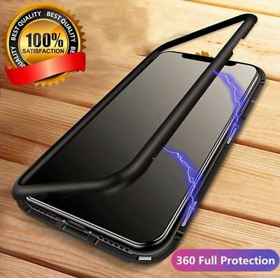 Coque Protection Magnétique Arrière Verre Trempé iPhone 6 6S 7 Plus 8 XR X S MAX 5