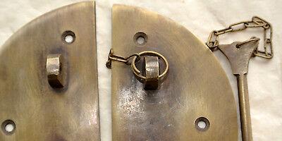 "2  Door box Latch catch brass furniture antique bolt chain asian style 3.1/2"" B 4"