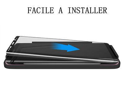 SAMSUNG S8 S9 VITRE VERRE TREMPE 3D Film De Protection Ecran Intégral Total Noir 4
