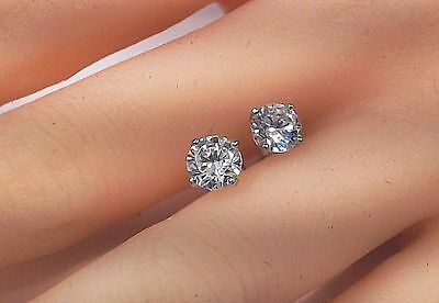 4 Ct Diamond Stud Earrings Round Diamond Solitaire Stud Earrings 14K White Gold 3