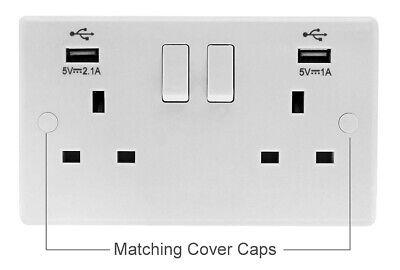 Double Wall Plug Socket 2 Gang 13A with 2 USB Ports Screwless Slim Flat Plate 6