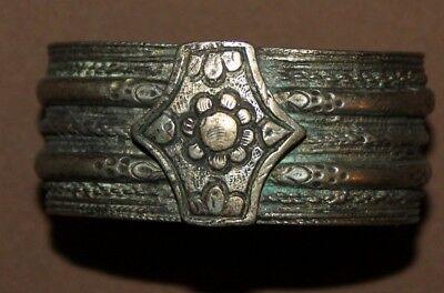 Antique Greek Orthodox folk silver hinged cuff bracelet