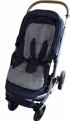 MINKY Pram Seat LINER Stroller INSERT Universal Reversible Grey Melange 3
