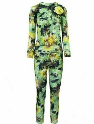 11-12 YEARS Girls FLORAL Print 2-Piece Lounge Wear Tracksuit Jogging Bottoms Top 2