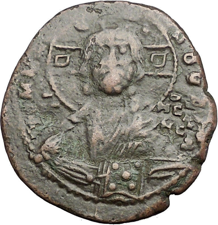 JESUS CHRIST Class B Anonymous Ancient 1028AD Byzantine Follis Coin CROSS i55787 2