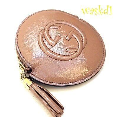3b6a18e52dd016 ... GUCCI nude Patent Leather SOHO Interlocking G zip pouch COIN Purse NIB  Authentic