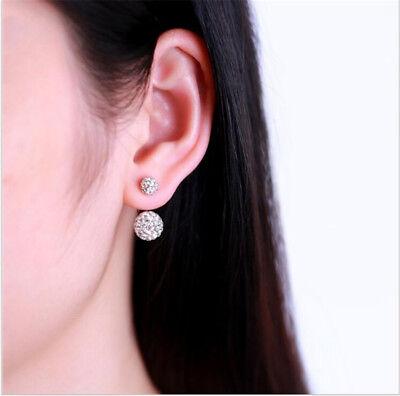 1 Pair Women Lady Jewelry Silver Double Beaded Rhinestone Crystal Stud Earrings
