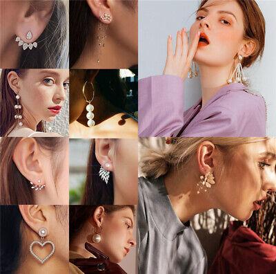 New Women Pearl Crystal Geometric Statement Drop Dangle Earrings Wedding Jewelry 4