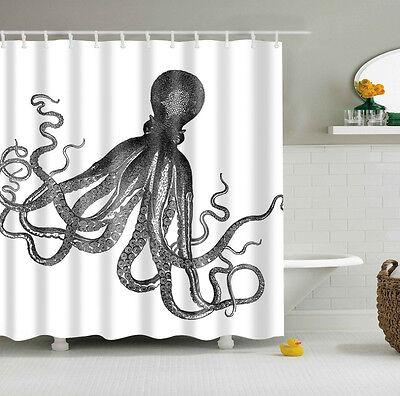 Custom Shower Curtain Octopus Kraken Design Bathroom Waterproof Fabric 60 X72 2