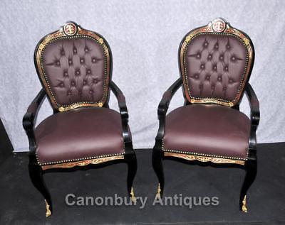 Pair French Boulle Arm Chairs Louis XV Fauteil Chair 7
