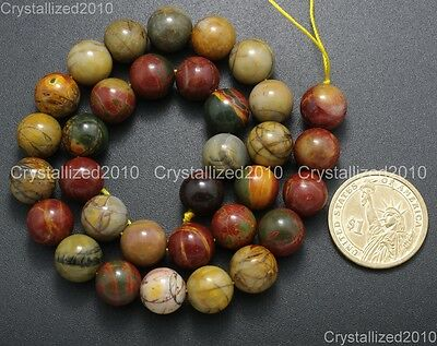"Natural Picasso Jasper Gemstone Round Loose Beads 4mm 6mm 8mm 10mm 12mm 14mm 16"" 7"