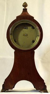 Antique English 8 Day Balloon Head Mahogany Mantle Clock 5