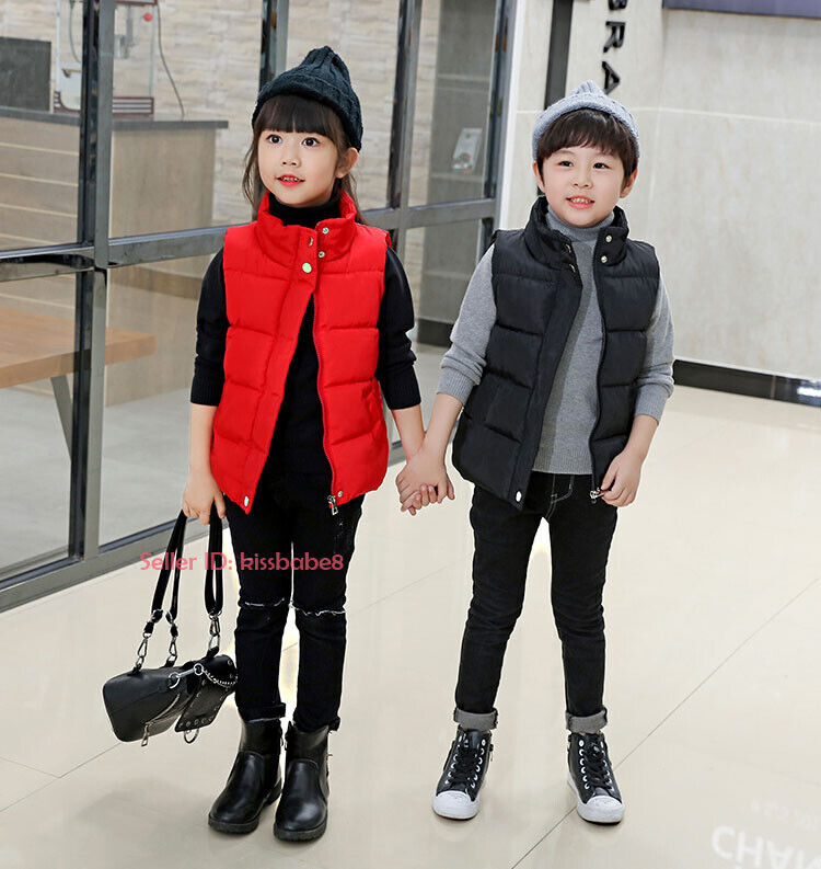 Kids Boys Girls Warm Cotton Down Vest Quilted Jacket Waistcoat Coats Snowsuits 3