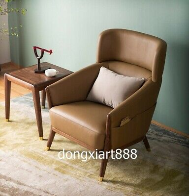 Black walnut solid wood furniture leather dining room coffee house Leisure sofa 3