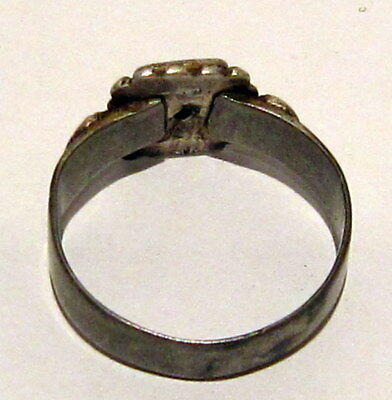 Amazing Medieval Or Post-Medieval Silver Ring With Gold Plated # 81B 6