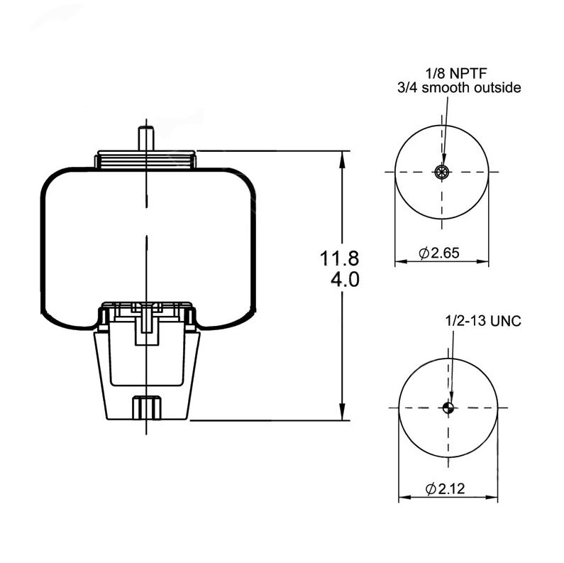 kenworth cab suspension air bag - 1s5038 2501300c1