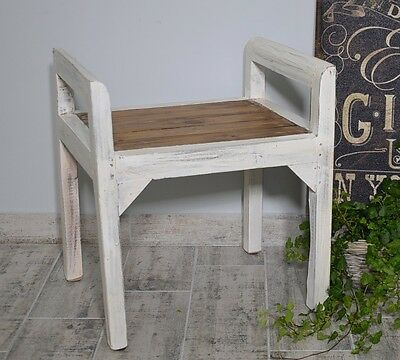 Bench Seat Seater Settee Chair French White Ottoman Wood Vintage Retro Antique 6