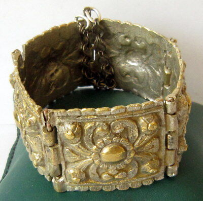 ANTIQUE 1800s.BRONZE BRACELET,SILVERED in 5 PARTS,AMAZING FLORAL DECORATION # 7 2