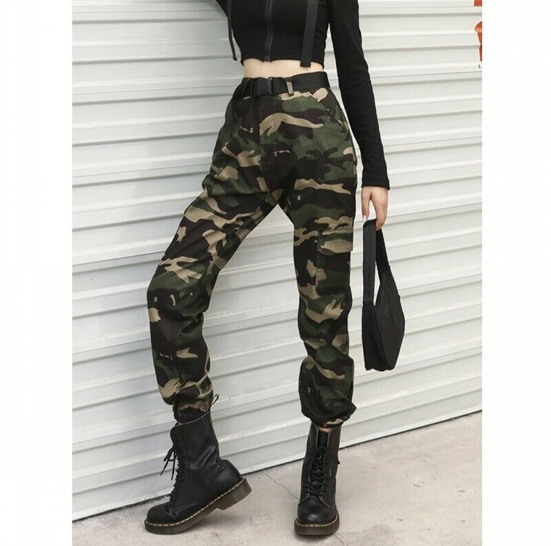 Womens Camouflage Hiphop Military Overall Pants Casual Outdoor Trousers Sbox4 4