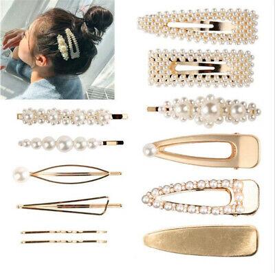 Pearl Acrylic Crystal Hair Clip Slide Hair Pin Barrette Bridal Hair Accessories 4