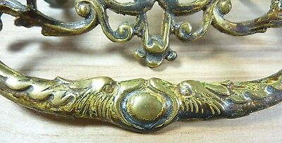 Antique 19c Brass Grotesque Face Head Koi Monster Pulls Architectural Hardware 6