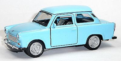 7,5 cm Neuware WELLY Trabant 601 hellblau mit weißem Dach Trabi Modellauto ca