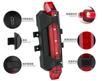 5 LEDs USB Rechargeable Bike Tail Light Bicycle Safety Cycling Warning Rear Lamp 7