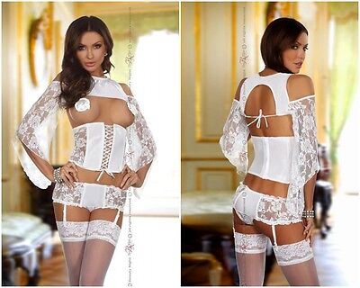 Beauty Night Fashion Dessous Kimono Top Unterbrust Corsage Strumpfhalter neu Hot