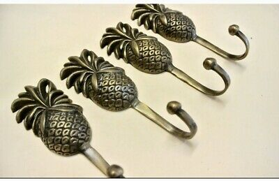4 small PINEAPPLE 100% brass HOOK COAT WALL MOUNT HANG TROPICAL Old style hook B 5