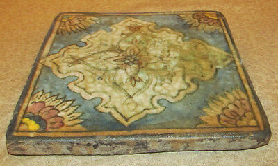 Antique Oriental Persian Middle Eastern Tile with Floral Motif