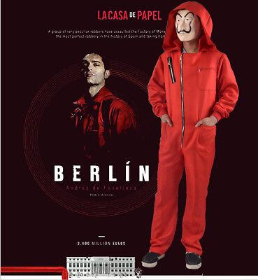 Salvador Dali La Casa De Papel Money Heist Red Jumpsuit Mask Costume Cosplay 2