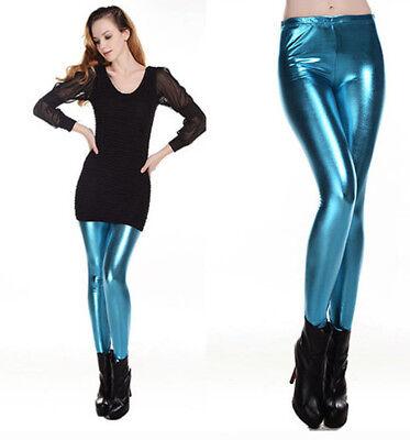 Ladies Women Girl Punk Metallic Hot Lycra Wet Look Shiny Pants Leggings Trousers