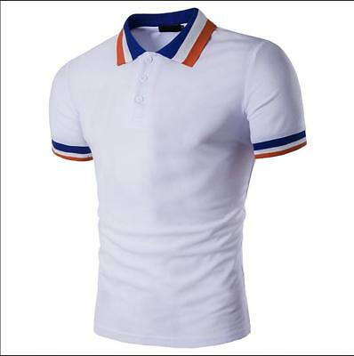 New Men's Slim Fit POLO Shirts Solid Short Sleeve Casual Golf T-shirt Tee Tops 6
