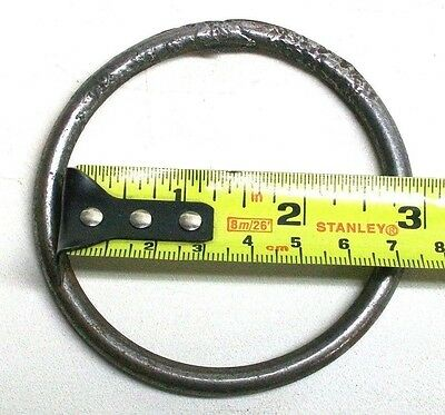 """[2] Nos 3"""" Vintage Steel Tethering Horse Ring With Staple Meat Beam Game Hook Dm 6"""