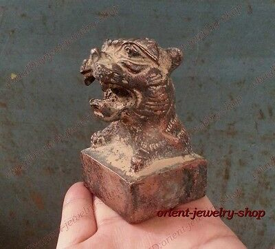 China Archaic Bronze statue Signed carvings tiger seal 2