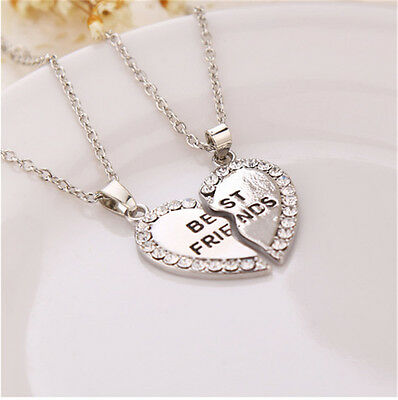 2x Fashion Splice Heart Pendant Best Friend Letter Necklace Women/'s Jewelry Z RD