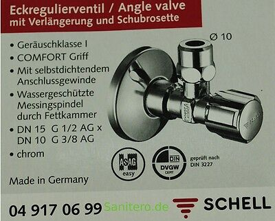 """Eckventil Schell Comfort 1/2"""" x 3/8"""" Eckregulierventil selbstdichtend 049170699"""