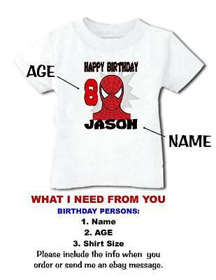 SPIDERMAN HAPPY BIRTHDAY T SHIRT Personalized Any Name Age Toddler To Adult 3