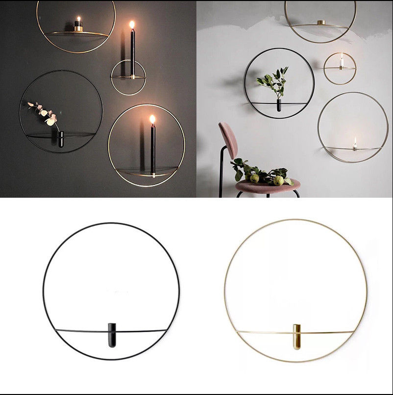 Wall Mounted 3D Geometric Round Tea Light Candle Holder Metal Candlestick Decor 2