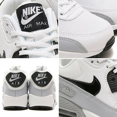 NIKE AIR MAX 90 Essential 616730 111 Blck Wht Wolf Grey Women's Running Shoes