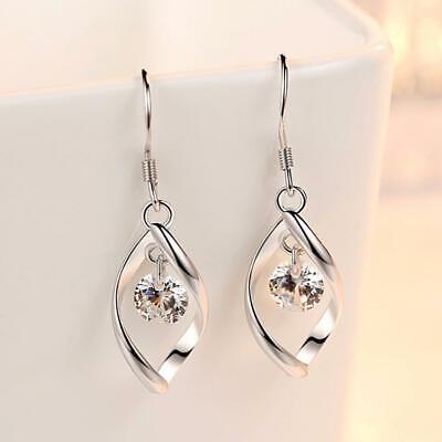 Womens Leaf Earrings Drop Dangle Hook 925 Sterling Silver Jewellery Round Long 3
