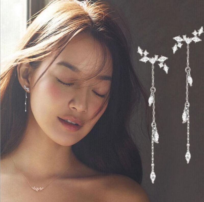 Women Double Sided Ear Jacket Piercing Water Drop Crystal Earrings Cute Jewelry