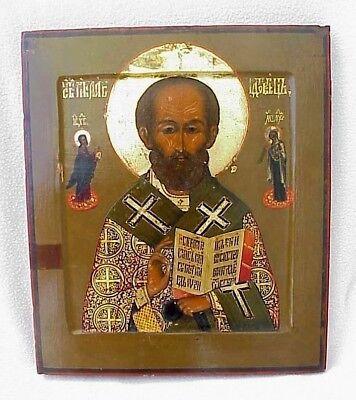 19c. RUSSIAN IMPERIAL GOLD ICON ORTHODOX BISHOP NICOLAS MYRA WOOD EGG TEMPERA 12