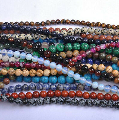 Natural Gemstone Round Spacer Loose Beads 4mm 6mm 8mm 10mm 12mm Stones Beads