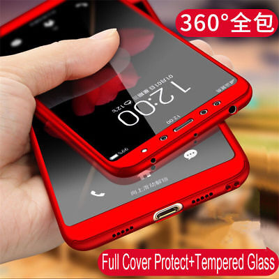 360° Full Cover Case + Tempered Glass For Xiaomi Redmi 4X 5 Plus 6A Note 6 7 Pro 2